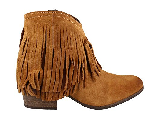 Fringe Taos Shag Boot Women's Suede Ankle Cognac wTpEqq
