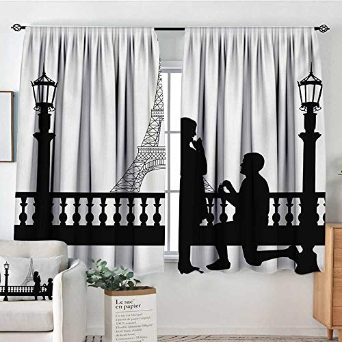 Mozenou Engagement Party Room Darkening Curtains Paris Love Valentines City Wedding Proposal Future Happiness Image Drapes for Living Room 55
