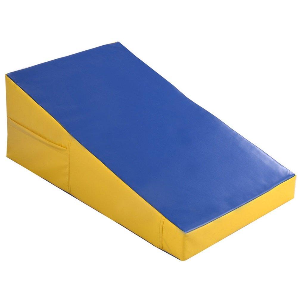 Incline Gymnastics Mat Wedge Ramp Gym Sports Exercise Aerobics Tumbling Yellow/Blue TKT-11