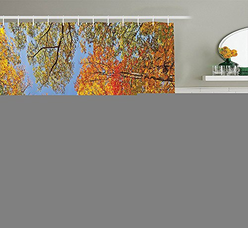 [Leaves Decor Collection Falls Colors in National Country Park Nature Observation Base Perspective Photo Polyester Fabric Bathroom Shower Curtain Orange Blue] (National Costume Of All Countries)