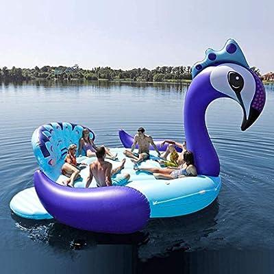 Geng Piscinas hinchables Juguetes colchones de Aire Inflable Gigante del Pavo Real del Flotador de Party Island con Piscina Lake Beach Flotante del Barco del Agua for Adultos: Amazon.es: Hogar