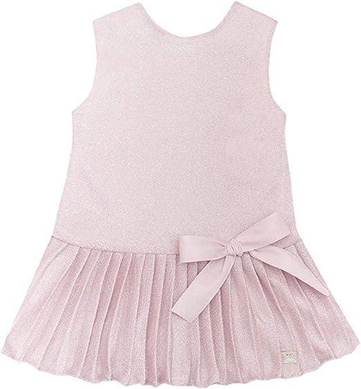 Eve Chidren - Vestido para niña de Lurex Rosa Pastel. Sin Mangas ...