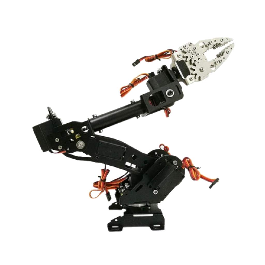 Homyl Tablero de Garra Mecánica con Brazo Robótico 8-DOF Accesorios DIY para Apredizaje Color Negro - D