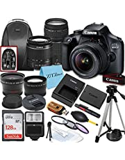 Canon EOS 4000D / Rebel T100 DSLR Camera with EF-S 18-55mm & 75-300mm Lens + 128GB SanDisk Memory Card, Tripod, Flash, Backpack + ZeeTech Accessory Bundle photo