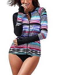 Mingnos Women's Long Sleeve Surfing Rashguard Multi Stripes Printed Stretch Swimsuit