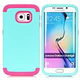Galaxy S6 Edge Case,LUOLNH 3-Piece High Impact Hybrid Defender Case For Samsung Galaxy S6 Edge (Mint+Hot Pink )