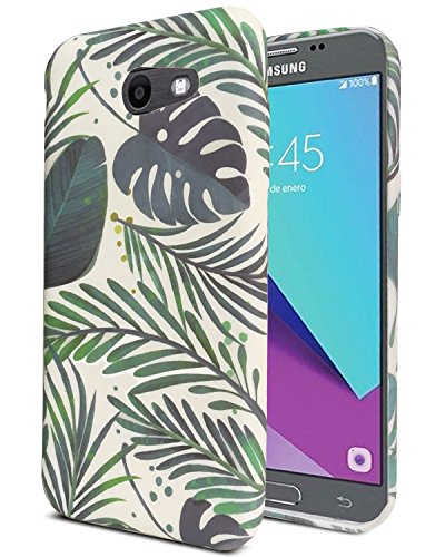 J.west Galaxy J3 Emerge Case, J3 Prime/J3 2017/Amp Prime 2/Express Prime 2/Sol 2/J3 Luna Pro/J3 Eclipse/J3 Mission Case,Soft TPU Pattern Slim Matt Protective Back Phone Case for J3 2017(Green Leaf)
