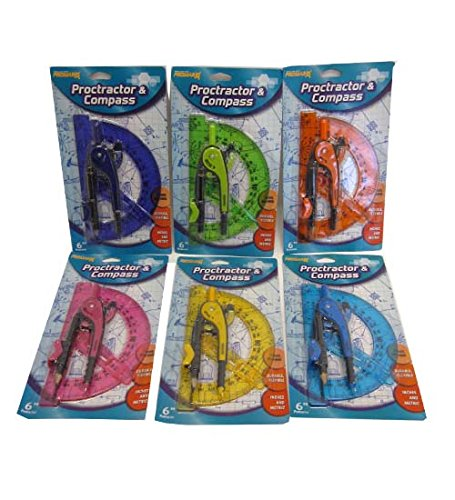 Proctractor & Compass Set Assorted Colors, Case of 12 by DollarItemDirect