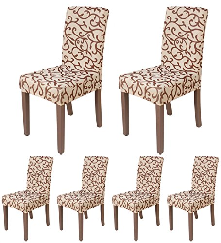 ColorBird Scroll Flower Spandex Dining Chair Slipcovers Removable Universal Stretch Chair Protective (Champagne Living Room Set)