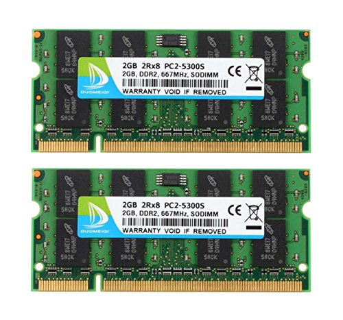 (DUOMEIQI 4GB (2X 2GB) 2RX8 PC2-5300 PC2-5400 PC2-5300S DDR2 667MHz CL5 200 Pin 1.8v SODIMM Notebook RAM Non-ECC Unbuffered Laptop Memory Module Compatible with Intel AMD and MAC System)