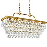 Cheap Modern Clear Crystal Rectangle Chandelier LED Ceiling Light Fixture Pendant Lighting Lamp for Dining Room Bathroom Bedroom Livingroom 4 E12 Bulbs Required H20in x W12in x L31in