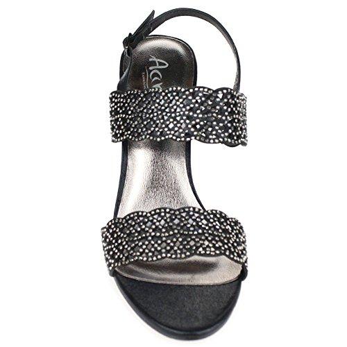 de Plata Comfort Aarz Oro talón tamaño la Diamante Negro de mujeres sandalias Banquete boda las Negro señoras tarde de de wq4TI