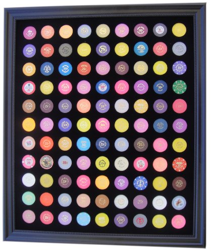 (Tiny Treasures, LLC. Black Casino Chip Display Frame for 99 Casino Poker Chips (not included))