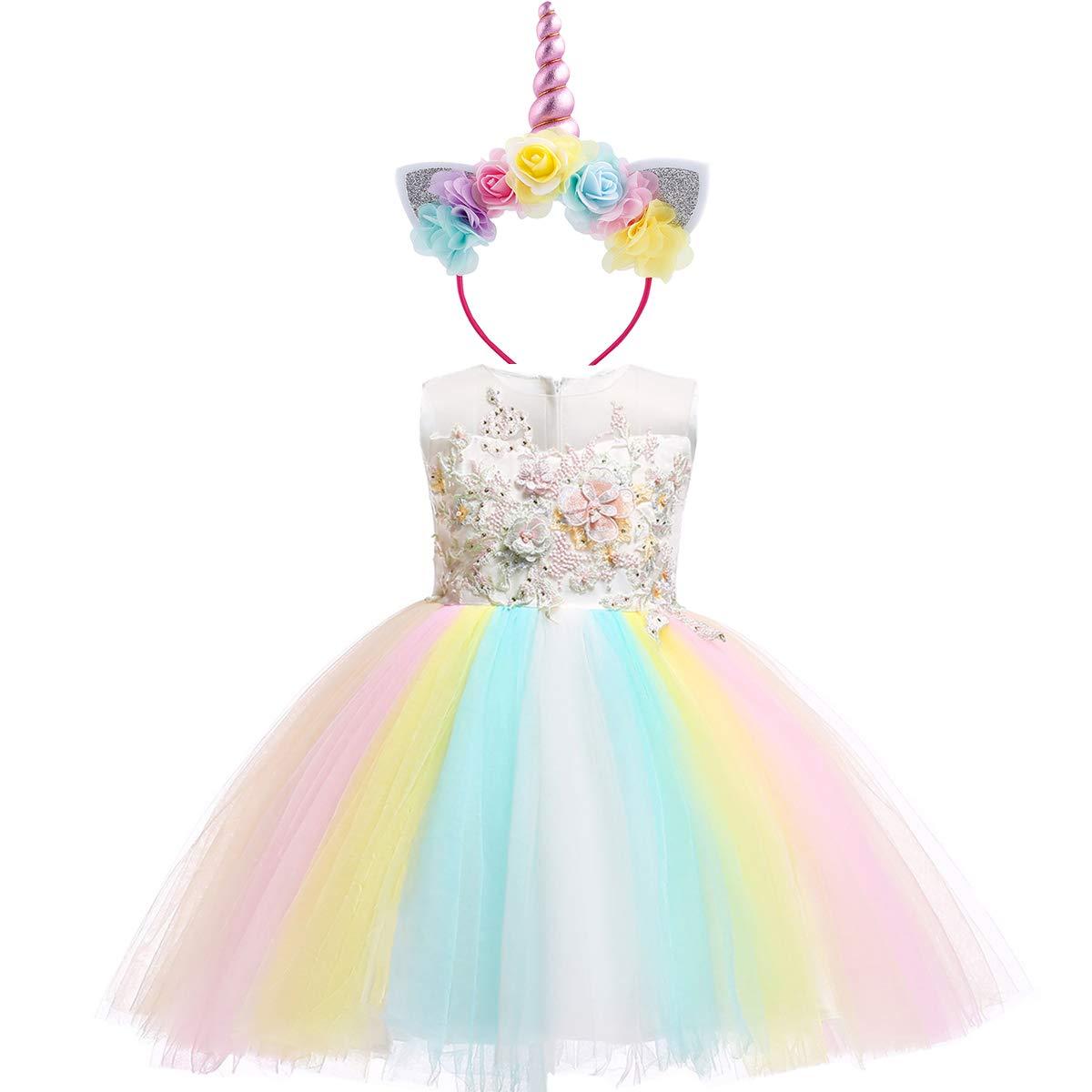 Costume da Unicorno Arcobaleno Vestito Elegante da Fiore Ragazza Tutu  Floreale Principessa Festa Cerimonia Carnevale Compleanno ecfb3922a84