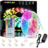 SHOPLED LED Strip Lights 16.4ft Flexible Color Changing Led Lights Strip for Bedroom, 5050 RGB Led Tape Lights