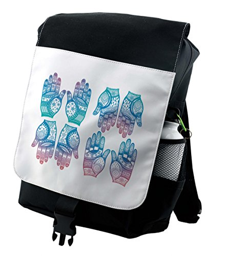 Lunarable Gypsy Backpack  Henna Arabesque Tattoo  Durable All Purpose Bag