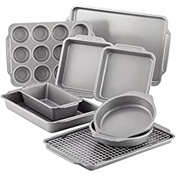 Farberware Nonstick Bakeware 10-Piece Set with Cooling Rack, Gray