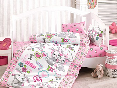 Bekata Rabbit Baby - 100% Cotton Duvet Cover Set - Toddler Bedding Set 4 Pieces by Cotton Box