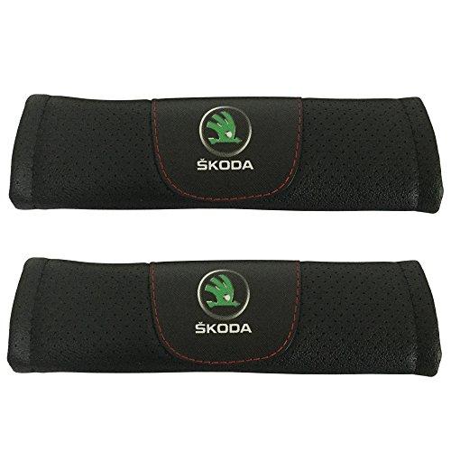 2pcs Set Skoda Car Seat Safety Belt Covers Leather Shoulder Pad Accessories Fit for Skoda Rapid Skoda Octavia Skoda Kodiaq Skoda Superb Skoda Karoq Skoda Laura Skoda Yeti