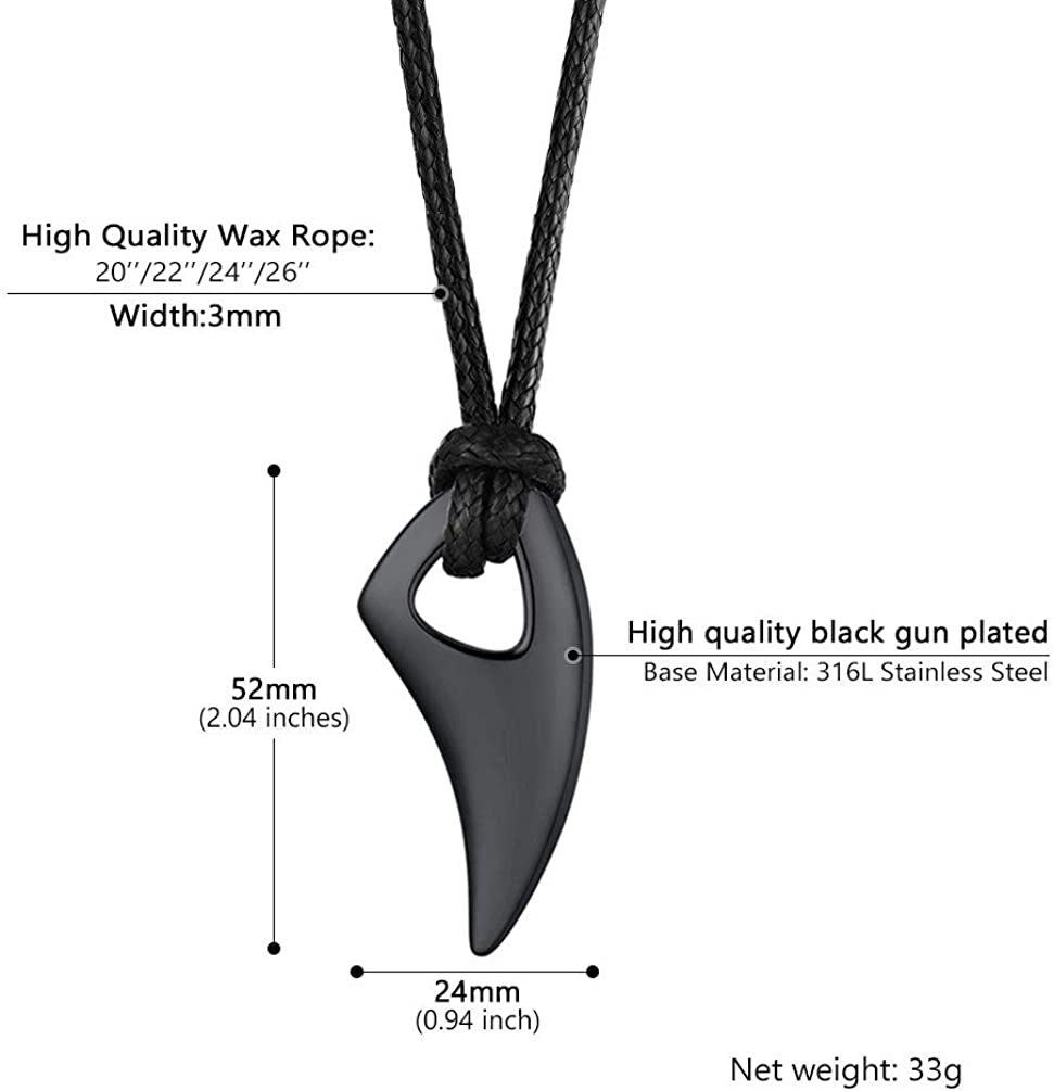 Wolf Teeth Spear Pendant Necklace with Metal//Wax Rope Chain 18K Gold Plated//316L Stainless Steel//Black with Gift Box PROSTEEL Free Engraving
