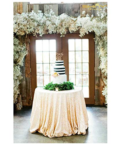 ShiDianYi Round Sequin Tablecloth-120Inch-Ivory for Wedding/Party/Decor(Ivory) ()