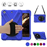 BRAECN Rugged Heavy Duty Protective iPad Mini 1 2 3 Case - 360 Degrees Swivel Stand and Hand Grip Strap a Shoulder Strap for Apple iPad Mini1st - 2nd and 3rd Generation