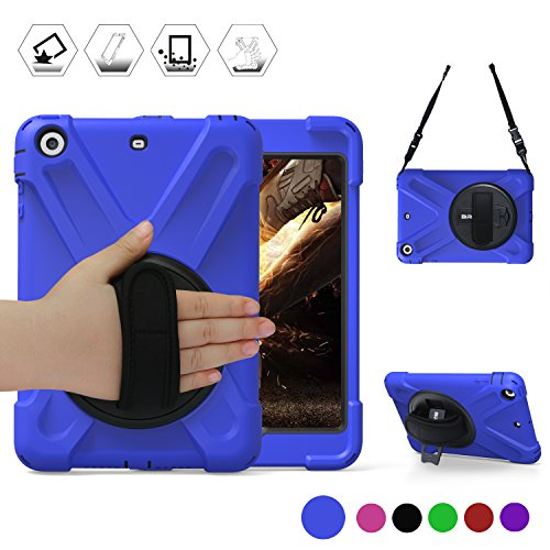 BRAECN Rugged Heavy Duty Protective iPad Mini 1/2/3 Case,360 Degrees Swivel Stand and Hand Grip Strap/a Shoulder Strap for Apple iPad Mini1st, 2nd and 3rd Generation