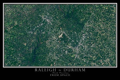 Raleigh Durham North Carolina From Space Satellite Poster Map M