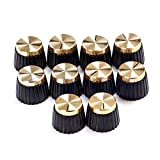 Farmunion 10 X Guitar AMP Knobs Black With Gold Cap fits Marshall Amplifier