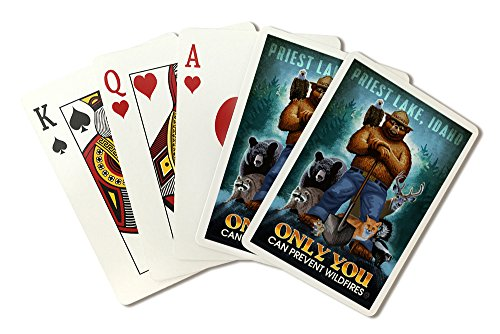 Priest Lake, Idaho - Only You Can Prevent Wildfires - Smokey Bear and Friends (Playing Card Deck - 52 Card Poker Size with Jokers) by Lantern Press