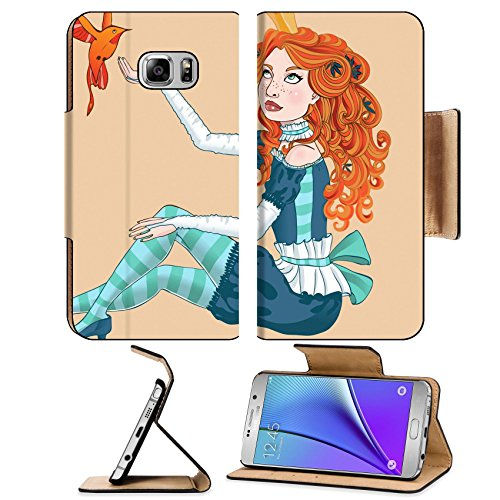 MSD Premium Samsung Galaxy Note 5 Flip Pu Leather Wallet Case Note5 IMAGE ID: 10788285 Little princess with a bird Vector (Quick Costumes For Redheads)