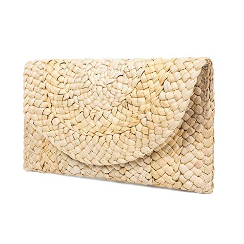 Straw Clutch Handbag, Women Straw Tote Purse Envelope Bag Wallet Summer Woven Beach Bag ()