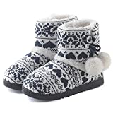 ChicNChic Women Cozy Plush Fleece Bootie Slippers Winter Indoor Outdoor House Shoes (7-7.5 B(M) US, Black)