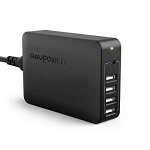 USB C Pd Charger, RAVPower 60W 5-Port USB Desktop Charging Station with 45W Power Delivery Port, Compatible iPhone 11/Pro/ Max, Ipad Pro 2018, MacBook, Galaxy S9 S8 and More(Black)
