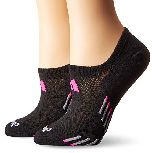 adidas Womens Climacool X III Super No Show Socks (2 Pack), One Size, Black/Shock Pink/Light Onix/Onix