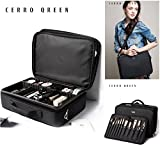 Makeup Train Case —CERROQREEN Professional Beauty Artist Storage Waterproof Makeup Cosmetic Tools Brushes Box Bag Holder Organizer with Shoulder Strap (Black)