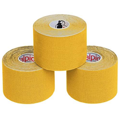 BB Sport 3 Rollos Cinta Kinesiología Tape 5 m x 5 cm Cinta Muscular E- Book Ejemplos Aplicación, Color:amarillo