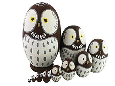 Adorable Animal Theme Big Round Eyes Brown Owl Egg Shape Wooden Handmade Russian Nesting Dolls Matryoshka Dolls Set 10 Pieces For Kids Toy Birthday Christmas Gift Home Kids Room Decoration