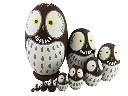 Adorable Lovely Animal Theme Big Round Eyes Brown Wise Owl Egg Shape Wooden Handmade Nesting Dolls Matryoshka Dolls Set 10 Pieces for Kids Toy Birthday Home Kids Room Decoration