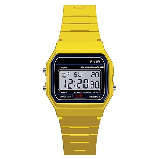 Loolik Relojes Deportivos,Casual Deportes de Lujo Analógico Digital Militar Sport LED Impermeable Hombres Reloj de Pulsera (Amarillo): Amazon.es: Relojes