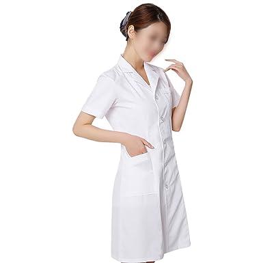 6393780342 OULII Vestido de Uniforme Blanco de la Manga del Uniforme de la Enfermera  de la Mujer