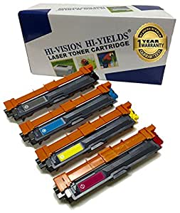 HI-VISION HI-YIELDS Compatible Toner Cartridge Replacement for Brother TN221/ TN225 (1 Black, 1 Cyan, 1 Yellow, 1 Magenta, 4-Pack)