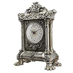 HENSE Retro Vintage European Style Decorative Grandfather Clock Polyresin Modern Mantel Shelf Tabletop Desk Quartz Clocks HD17 (Silver)