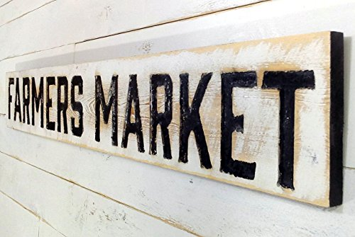 """Large FARMERS MARKET Sign Horizontal 55""""x8""""- Carved in Wood Lumber"""