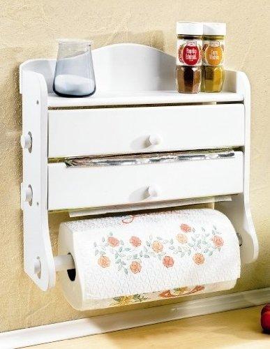 3-fach HOLZ Küchenrollenhalter WEISS - 37x38x14 cm - Papierhalter ...