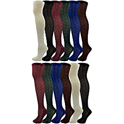 Cable Knit Knee High Socks for Women, 12 Pairs, Textured Crochet Ladies Chic Sock, Bulk Pack (Assorted, 12)
