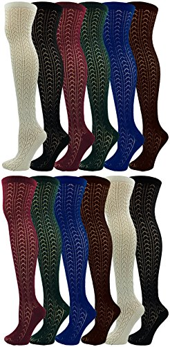 Cable Knit Knee High Socks for Women, 12 Pairs, Textured Crochet Ladies Chic Sock, Bulk Pack (Assorted, 12) from Sock Deal