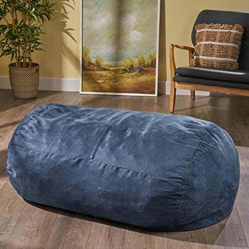 Christopher Knight Home Delilah Fabric 4-Foot Lounge Beanbag Chair by Midnight Blue