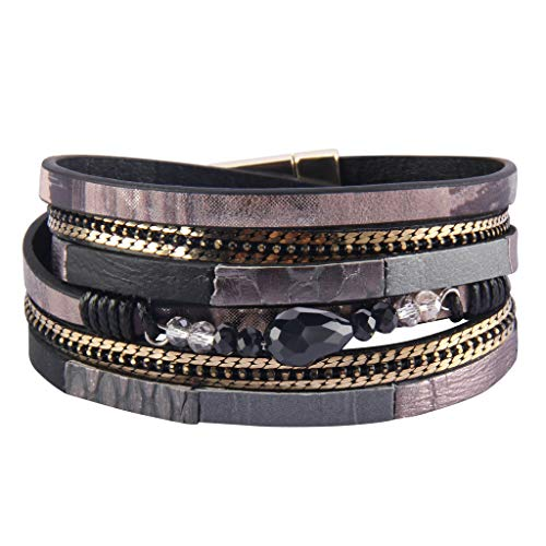 - AZORA Leather Wrap Bracelet for Women Multi Layer Druzy Stone Cuff Bracelets with Magnet Clasp Gift for Girls (AL0033-BLACK)