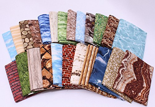 Landscape Quilting Fabric (10 Fat Quarters - Landscape Quilt Fat Quarter Bundles Nature Grass Birch Bark Water Bricks Stones Bamboo Lightning Sky Clouds Assorted Quality Quilters Cotton Fabrics M228.03)